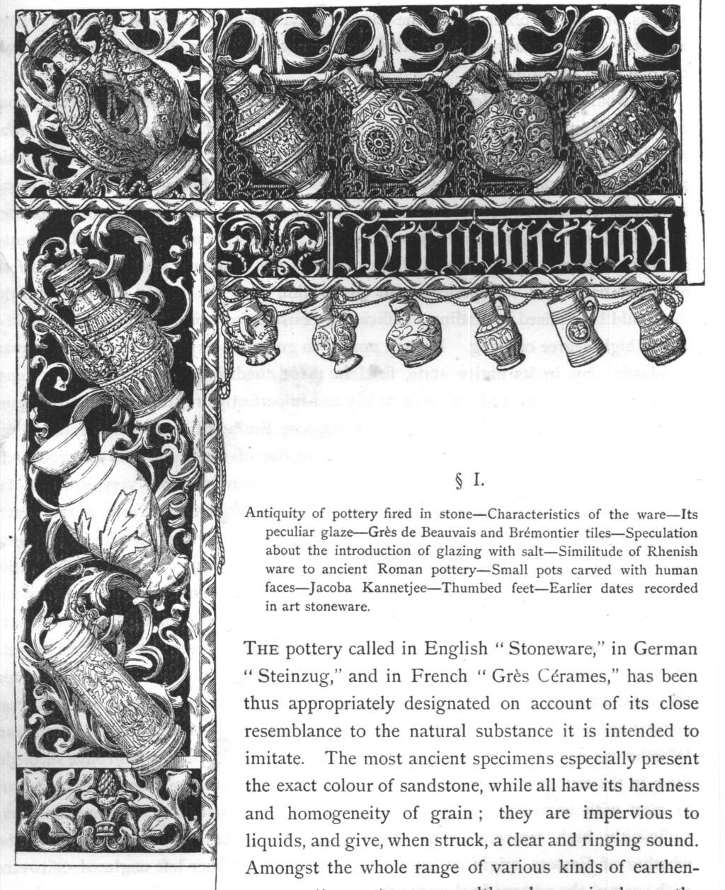 "Einleitende Zeichnung und Text aus der Publikation ""The ancient art stoneware of the low countries and Germany or Grès de Flandre & Steinzeug: it's principal varieties, and the places where it was manufactured during the XVIth and XVIIth century"", von M.L. Solon (1892)"